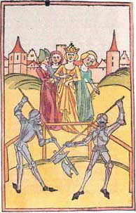 """fight of justice of the Graf von Montfort""    from the Schwäbische Chronik des Thomas Lirer, 1486"